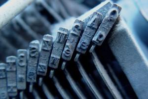 Detail of a typewriter's typebars