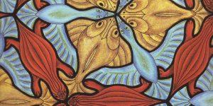 Mosaico con peces, aves y tortugas por M.C. Escher