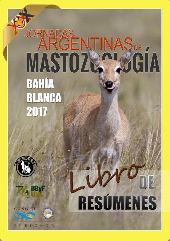 Tapa del Libro de Resúmenes de las XXX Jornadas Argentinas de Mastozoología (2017)